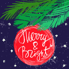 Merry and bright Christmas card design