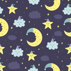 Good Night seamless pattern with cute sleeping moon, stars