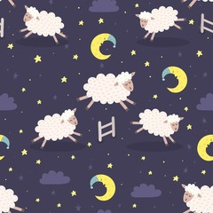 Good night seamless pattern with sheeps jumping over a fence