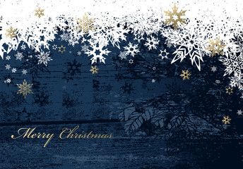 Christmas dark background with golden - white snowflakes and Mer