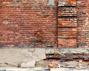 Broken old Bricklaying wall Fragment.