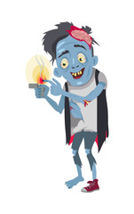 Zombie Isolated. Fictional Being Burning his Finger