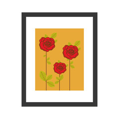 colorful picture frame with roses vector illustration
