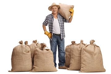 Mature farmer with a burlap sack on his shoulder