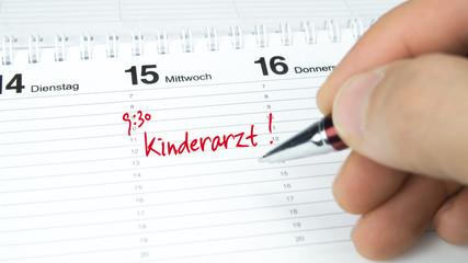 Kinderarzt / Termin im Terminkalender / Terminplaner