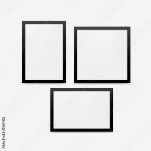 Black Minimalistic Vector Photo Frame Blank Mockups Set Vertical