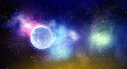 Moon planet wallpaper . Mixed media