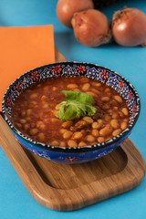Haricot bean is turkish traditional food with onions
