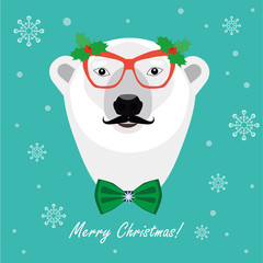 Christmas Greeting Card Design. Christmas Bear