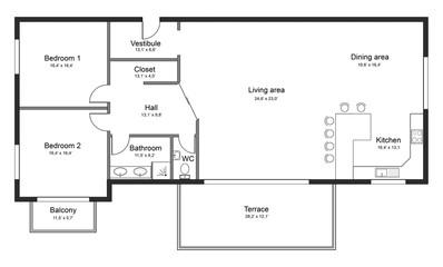 Apartment plan concept on white background