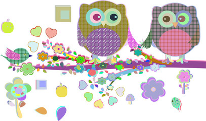 Valentine boy and girl owls sat on a tree branch,