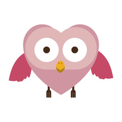 pink owl cute cartoon character vector illustration