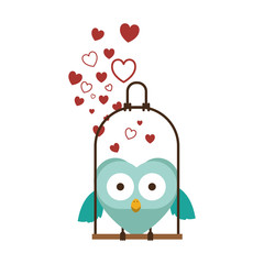 swing decorate with hearts and owl standing vector illustration