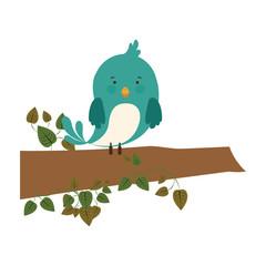 bird on branch with creeper vector illustration