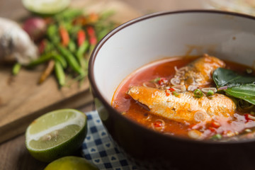 Spicy mackerels salad in tomato sauce