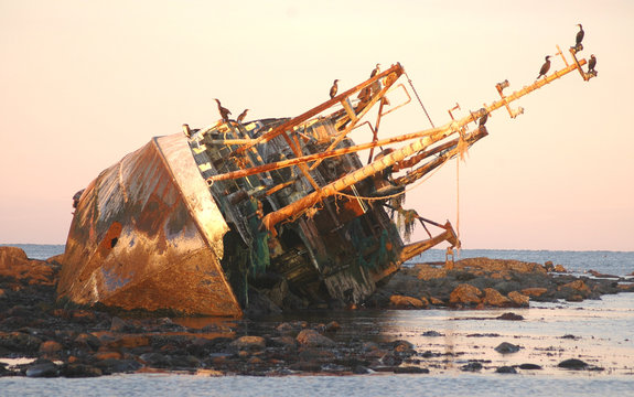 Shipwreck at Sunset on the North East Coast of Scotland