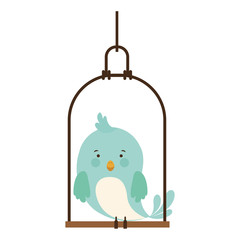 swing with blue bird standing vector illustration