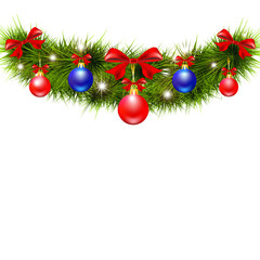 Christmas garland,on a white