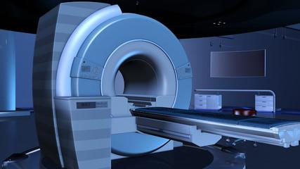 Mangnetresonanztomograph in einem futuristischen Röntgenraum