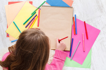 Beautiful girl draw, writing letter to santa, wait for christmas