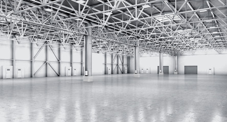 Empty warehouse in white color. 3d illustration