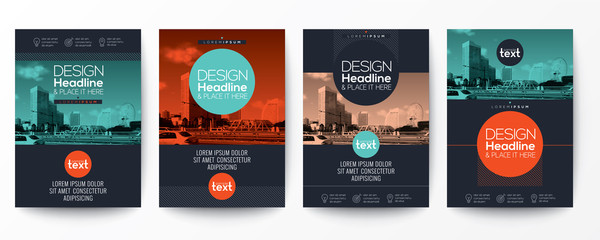collection of modern design poster flyer brochure cover layout template with circle shape graphic elements and space for photo background Wall mural