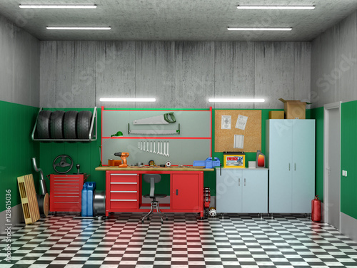 interior garage with car parts and tools 3d illustration stock photo and royalty free images. Black Bedroom Furniture Sets. Home Design Ideas