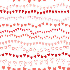 Seamless striped pink hearts pattern design on white