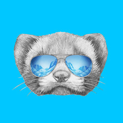Portrait of Least Weasel with mirror sunglasses. Hand drawn illustration.
