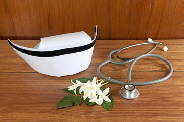 Hat nurse white and stethoscope