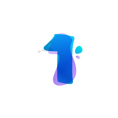 Number one logo with watercolor splashes.