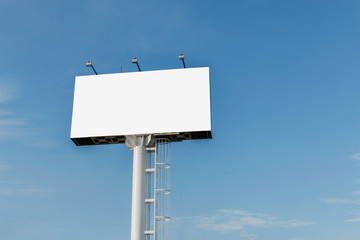 Billboards empty  on the steel structure with sky background