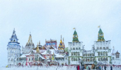 Beautiful view of kremlin in Izmailovo in winter snow , Moscow, Oil painting effect.