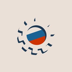3D cog wheel with Russia flag. Precision machinery relative backdrop