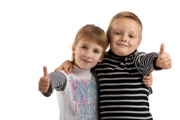 Small children. girl and boy making a thumbs up.