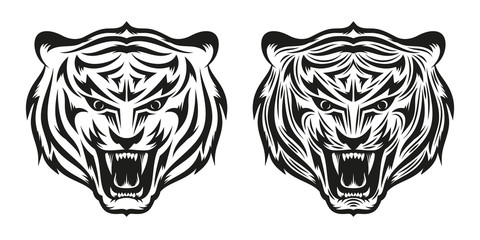 Head of growling tiger tattoo in two versions - a simple and detailed. Vector illustration.
