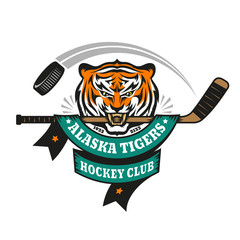 Hockey logo, mascot, emblem of a tiger holding a hockey stick in his teeth on a white background. Layered vector illustration - easy to edit.