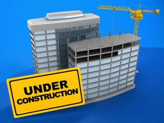 3d illustration of modern buildings over blue background with crane