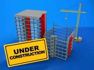 3d illustration of building over blue background with crane