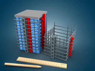 3d illustration of building over blue gradient background with drawing tools