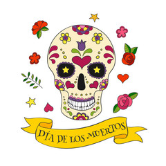 Colorful vector Calavera skull.  Sugar skull for Mexican day of the Dead