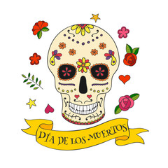 Colorful vector Calavera skull.  Sugar skull for Mexican day of the Dead