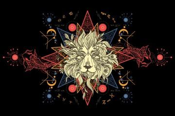 Lion and carps tattoo art, mystical geometric alchemy symbol