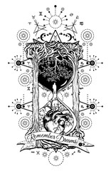 Tree and heart in hourglass symbol of life and death
