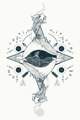 Two whales in sea wind rose compass mystical tattoo vector