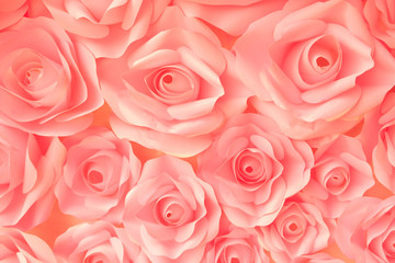 Close up beautiful bunch pink rose for background/texture.Vintage or retro tone.