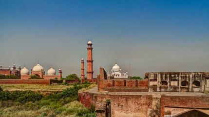 Panorama view of Lahore fort, Badshahi mosque and Samadhi of Ranjit Singh Lahore, Punjab, Pakistan
