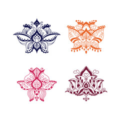Collection of four decorative vector lotuses