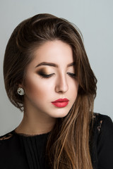 Portrait of beautiful sensual girl with red lips
