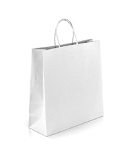 white kraft paper shopping bag isolated on white background